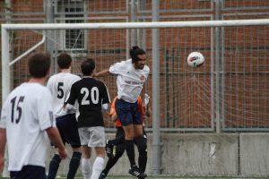 FC Británico midfield powerhouse Josh ' The Beast' Franco in action against Procarton