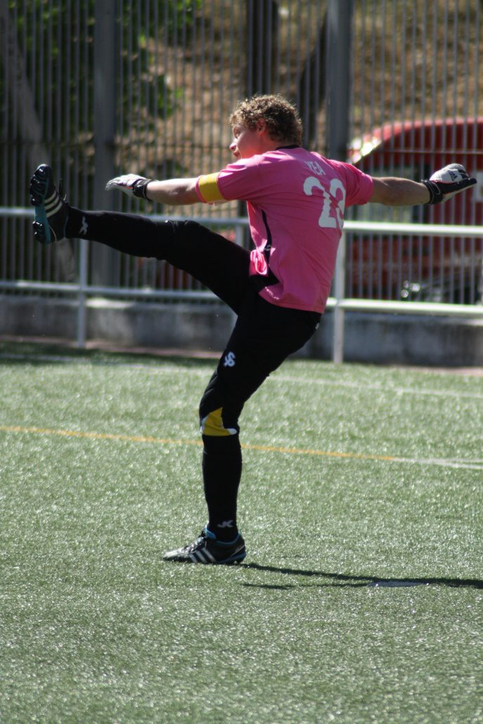 FC Británico goalkeeper Matt Yea in action in his final game against Maycometal